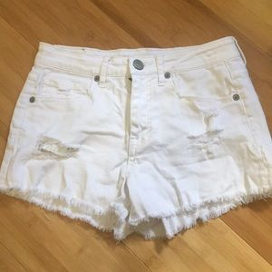 Aeropostale white ripped jean shorts